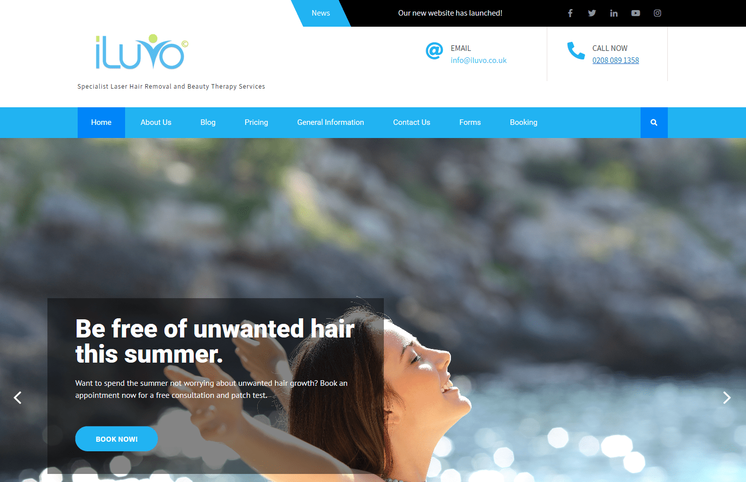 A screenshot of iLuvo's new Website Landing Page