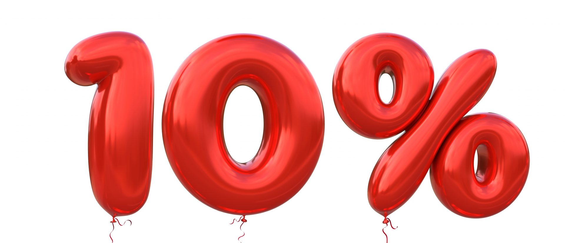 An illustration of red balloons showing 10%